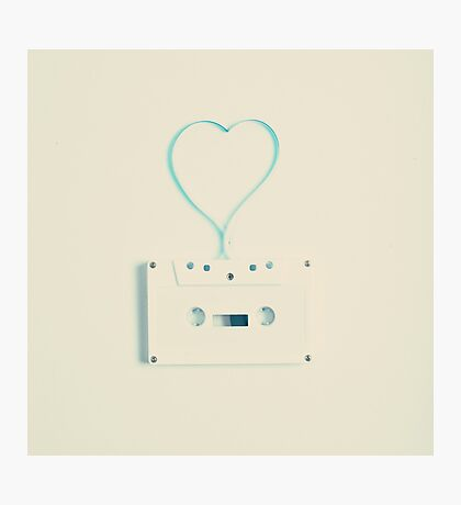 Music retro white cassette and blue tape heart shaped Photographic Print