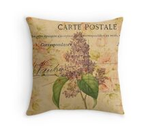 purple lilac vintage floral paris botanical art Throw Pillow