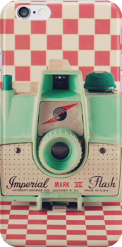 Mint Retro Camera on Red Chequered Background  by Andreka
