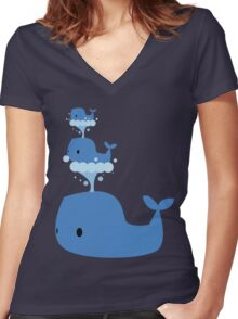 Whales Whales Whales Women's Fitted V-Neck T-Shirt