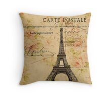 vintage floral retro  paris eiffel tower Throw Pillow