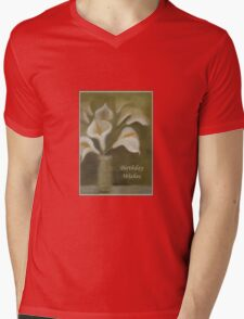 Calla Lilies Birthday Wishes Mens V-Neck T-Shirt