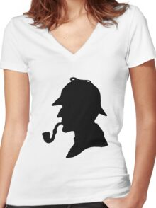 Sherlock Holmes Silhouette Women's Fitted V-Neck T-Shirt