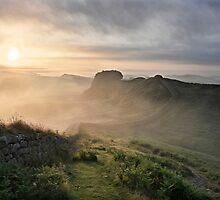 Hadrian's Wall on Cuddys Crag by Joan Thirlaway