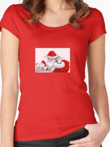 DJ Santa Claus Mixing The Christmas Party Track Women's Fitted Scoop T-Shirt