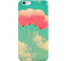Balloons in the sky (pink ballons in retro blue sky) iPhone Case/Skin