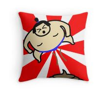 Flying Fart Sumo Throw Pillow