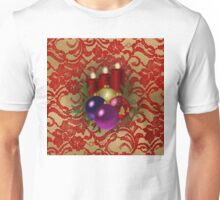 Christmas Candles & Ball Ornaments Red & Gold Floral Lace Unisex T-Shirt