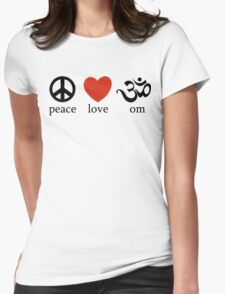 Peace Love Om Yoga T-Shirt Womens Fitted T-Shirt