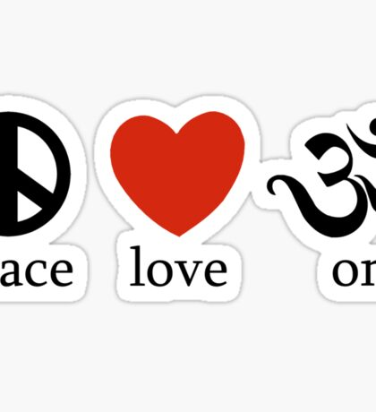 Peace Love Om Yoga T-Shirt Sticker