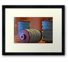 Bobbins of Yarn Blue Framed Print