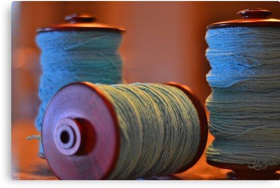 Bobbins of Yarn Blue by Carlo Marandola