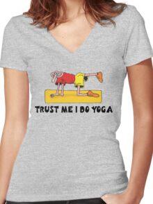Funny Men's Yoga T-Shirt Women's Fitted V-Neck T-Shirt