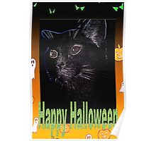 Black cat Halloween card Poster