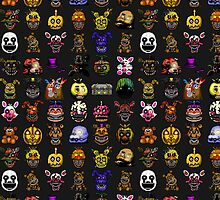 Multiple characters (New set) - Five Nights at Freddy's - Pixel art  by GEEKsomniac