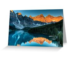 Moraine Lake in the sunrise light Greeting Card