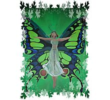 Flutterby Fairy With Leaf Border Isolated Photographic Print