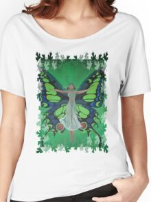 Flutterby Fairy With Leaf Border Isolated Women's Relaxed Fit T-Shirt