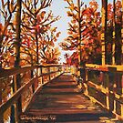 Boardwalk in fall by Dan Wilcox