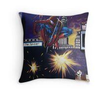 spiderman wall mural Throw Pillow