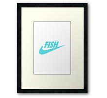 Fwish Hook - Tiffany Blue on White Framed Print