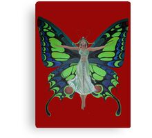 Art Nouveau Vintage Flapper With Butterfly Wings Canvas Print