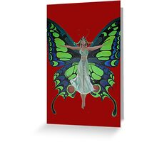 Art Nouveau Vintage Flapper With Butterfly Wings Greeting Card