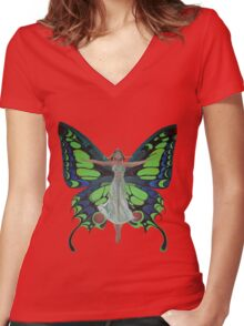 Art Nouveau Vintage Flapper With Butterfly Wings Women's Fitted V-Neck T-Shirt