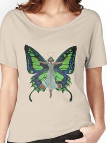 Art Nouveau Vintage Flapper With Butterfly Wings Women's Relaxed Fit T-Shirt