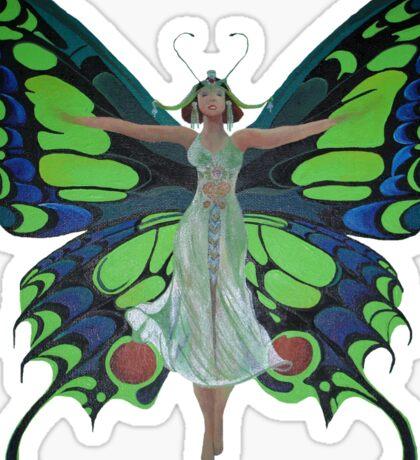 Art Nouveau Vintage Flapper With Butterfly Wings Sticker