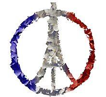 Peace for Paris Flower Flag Photographic Print