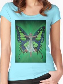 Art Nouveau Vintage Flapper With Butterfly Wings Women's Fitted Scoop T-Shirt