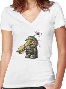 Master Chief VS. Sandwich Women's Fitted V-Neck T-Shirt