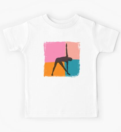 Triangle Pose Abstract Yoga T-Shirt Kids Tee