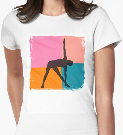 Triangle Pose Abstract Yoga T-Shirt Womens Fitted T-Shirt