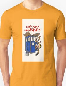 Calvin And Hobbes Tardis  T-Shirt