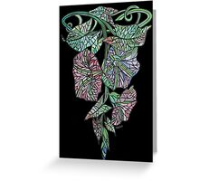 Art Nouveau Morning Glory Isolated On Black Greeting Card