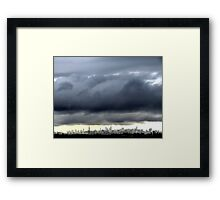 Storm clouds over New York City Framed Print