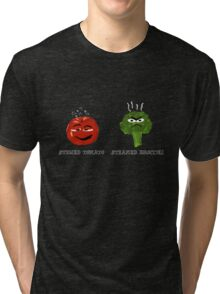Funny Veggies Broccoli and Tomato Tri-blend T-Shirt