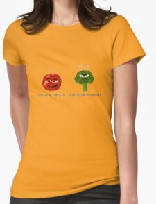 Funny Veggies Broccoli and Tomato Womens Fitted T-Shirt