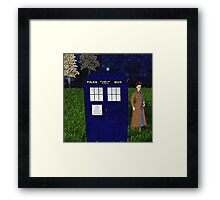 Dr Who David Tennent outside Tardis Framed Print