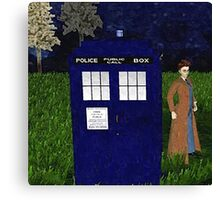 Dr Who David Tennent outside Tardis Canvas Print