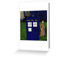 Dr Who David Tennent outside Tardis Greeting Card