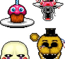 Five Nights at Freddy's 2 - Pixel art - Various Characters Sticker pack 1 by GEEKsomniac