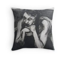 woman leaning Throw Pillow