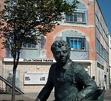 Dylan Thomas statue & theatre, Swansea, Wales by buttonpresser