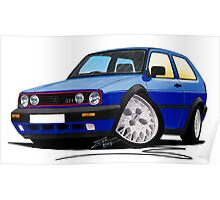 VW Golf GTi (Mk2) Blue Poster