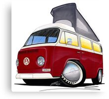 VW Bay (Early) Pop-Top Dark Red Canvas Print