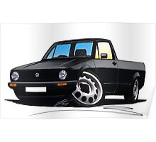 VW Caddy Black Poster
