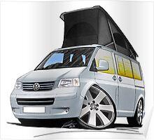 Volkswagen T5 California Camper Van Silver Poster